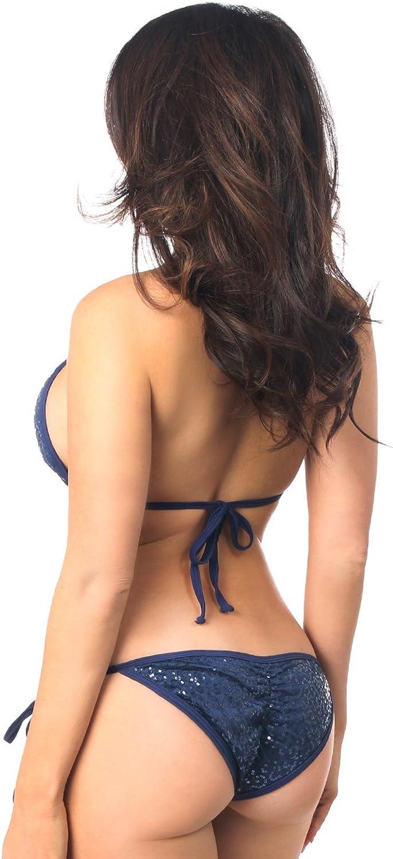 Daisy Beachwear Navy bluee Sequin Pucker Back Bikini