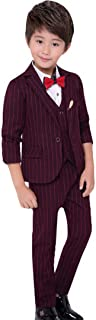 C-Princess 子供服 男の子 フォーマル スーツ ストライプ柄 5点セット ジャケット シャツ ベスト ロングパンツ 蝶ネクタイ ジュニア キッズ ボーイズ 結婚式 発表会
