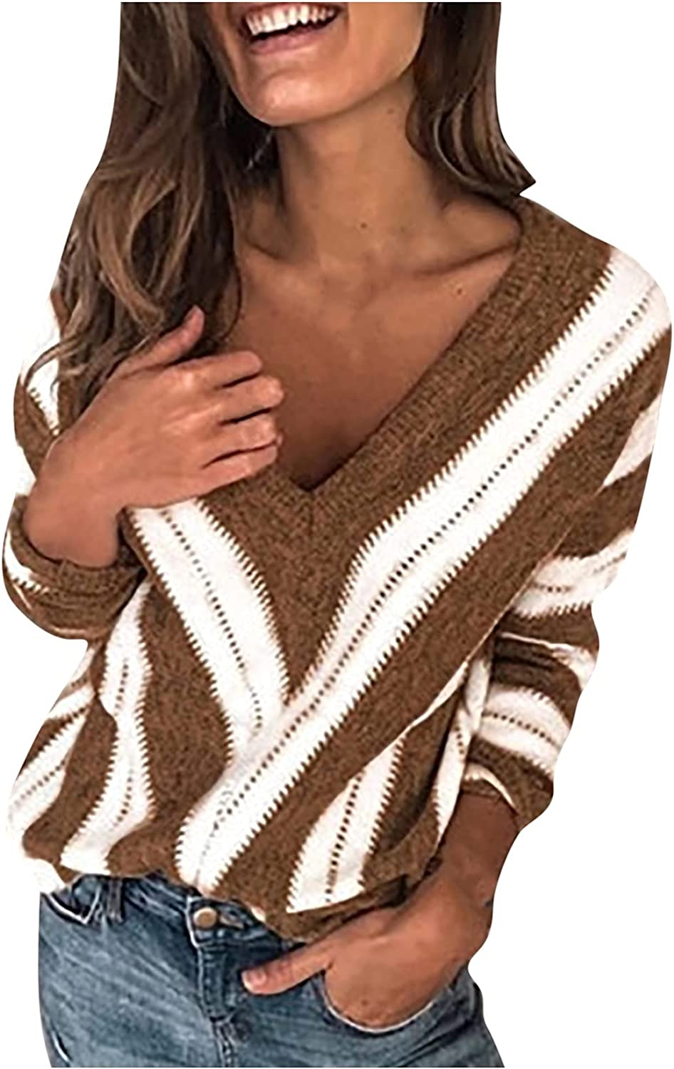 Kanzd Sweaters for Women Fashion V-Neck Long Sleeve Stripe Print Fall Sweaters Loose Fit Blouse Tops Sweatshirts Tunic