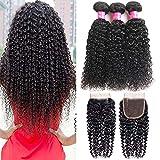 Brazilian Human Hair Bundles with Closure Unprocessed Brazilian Virgin Hair 3 Bundles with 4×4 Free Part Closure Natural Black Curly Hair Bundles With Closure(10 12 14+10'Closure)
