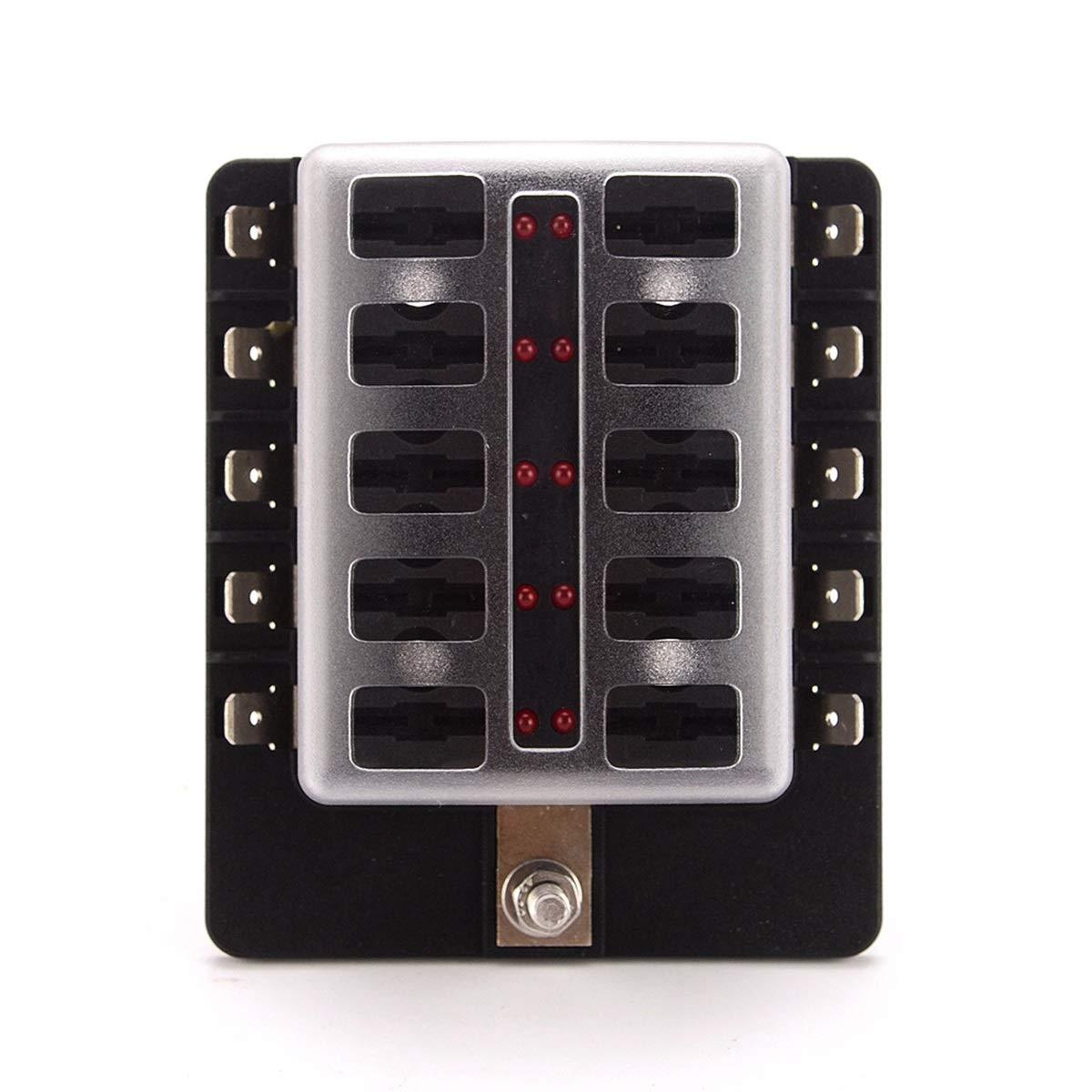 Amazon.es: Dibiao DC 12V / 24V Placa de caja de fusibles de la caja de bloque de fusibles de la hoja de 10 vías universal con luces de advertencia LED fallidas y