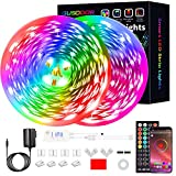 GUSODOR Led Strip Lights 65.6 Feet RGB Led Light LEDs Tape Strips Rope Lights Music Sync DIY Colors Changing Timing with 40 Key Remote Decoration for Bedroom Home TV Party Christmas Smart APP Control