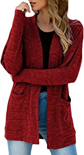 Women Cardigan QUINTRA Winter Long Sleeve Casual Overwear with Pocket Solid Color Fashion Coat