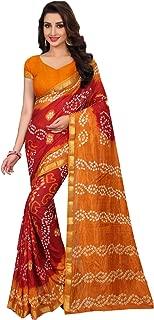 daindiashop-USA Indian Women Saree Bandhani Sari Special Occasion Navratri Diwali Outfit in Multi Tafeta Silk