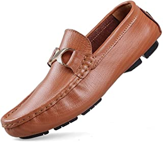 QXA Fashion Leisure Driving Loafers for Men Casual Penny Shoes Slip On Metal Buckle Round Toe Stitch Genuine Leather Perforated Lightweight