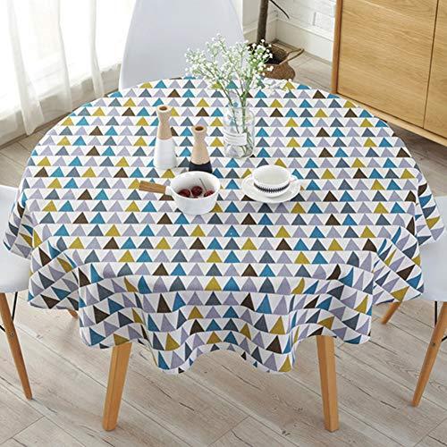 Mantel simple de estilo nórdico, mantel de poliéster sólido redondo de 150 cm Manteles impresos, cubierta de mesa de lino de algodón a prueba de polvo para mesa de buffet, fiestas, cena navideña