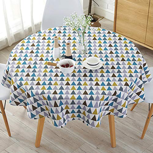 Tafelkleed in eenvoudige Scandinavische stijl, 150 cm rond, massief polyester, tafelkleden, stofdicht, katoenen linnen tafelkleed, voor buffettafel, feesten, feestdiner