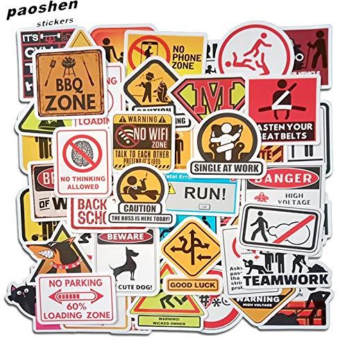 Pvc waarschuwingsstickers toepassen op residentiële Graffiti auto's motorfiets Skate Bagage Fun Stickers Diy waterdicht50 Stks