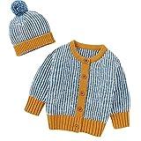 Chaqueta de suéter para bebé recién Nacido con Gorro Beanie de Manga Larga con Cuello Redondo y Botones de Rebeca Outwear (Azul, 6-12 Months)