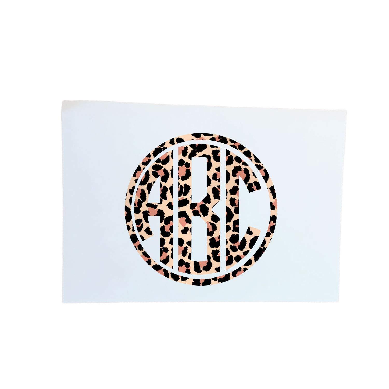 Personalized Cheetah Max 64% OFF 1 year warranty Print Circle Deca Monogram Sticker Initials