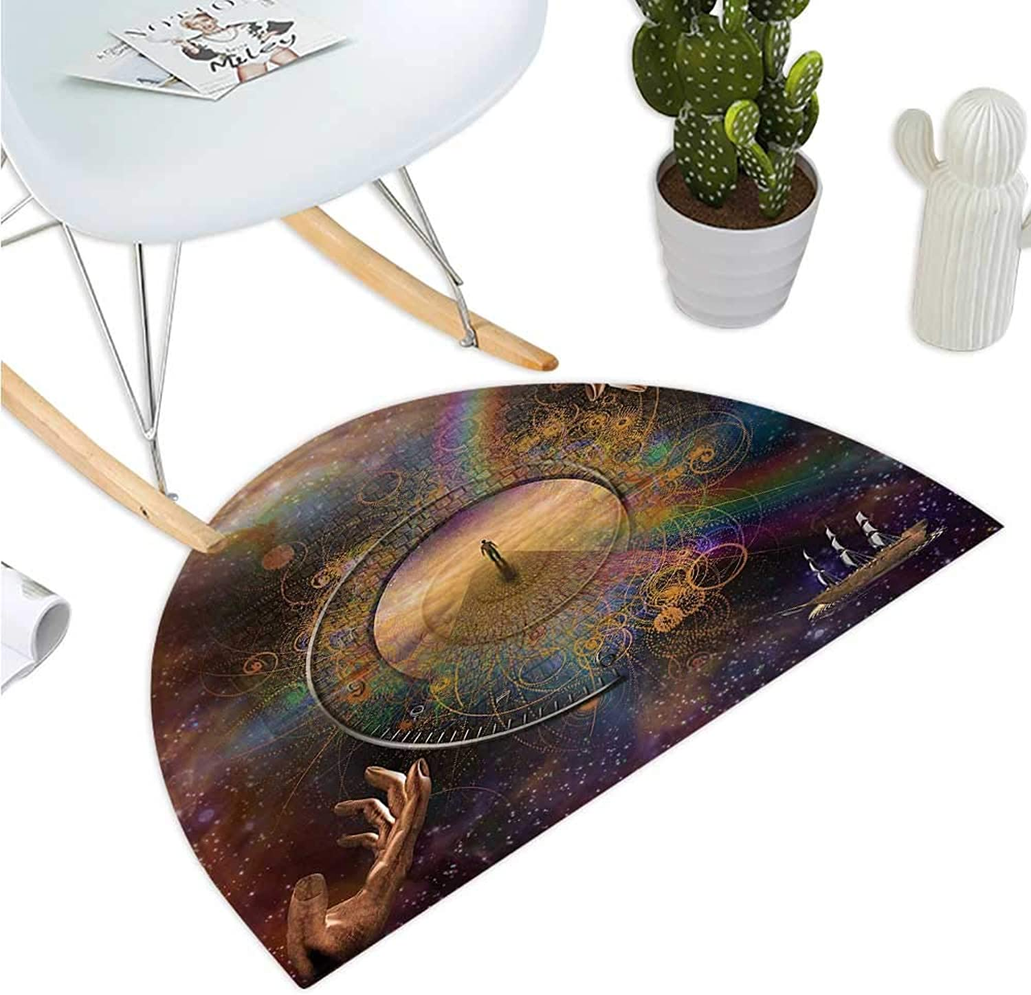 Magical Semicircular Cushion Double Exposure Outer Space Mixed with Earth Symbolic Eternity Details Artsy Print Entry Door Mat H 51.1  xD 76.7  Purple Tan