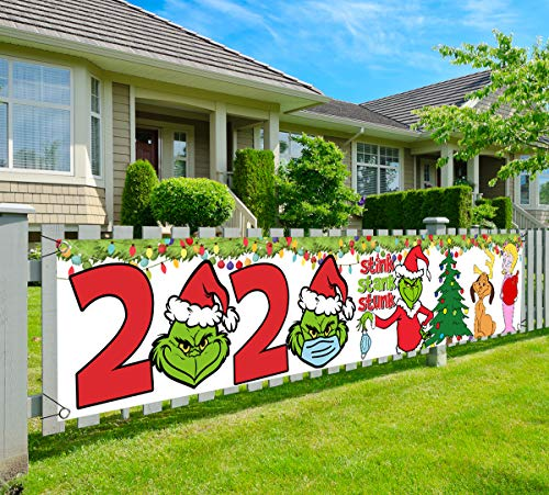 Grinch Christmas Decoration-2020 Stink Stank Stunk Christmas Yard Sign,Quarantine Christmas Banner 2020, Large Xmas Merry Christmas Yard Sign for Christmas 9.8x2Ft