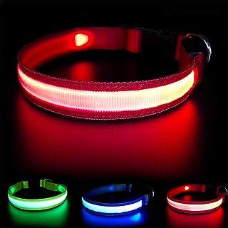 MASBRILL Collar Luminoso Perro de Mascota, 3 Modos Collar Perro Luz con Recargable y Impermeable, Ajustable Collares LED para Perros Pequeños/Medianos/Grandes(Rojo M)