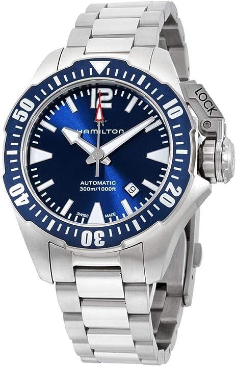Orologio hamilton men`s 42mm blue steel bracelet & case s. sapphire automatic analog watch h77705145