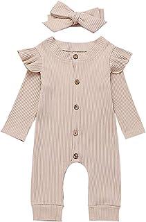 Newborn Baby Girls One Piece Jumpsuit, Infant Girl Knitted Romper Ruffle Long Sleeve Basic Bodysuit Underwear