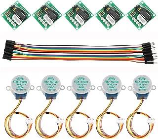 Dorhea 5PCS 28BYJ-48 ULN2003 5V Stepper Motor + ULN2003 Driver Board for Arduino + 20 PCS Male to Female Jumper Wire Cable