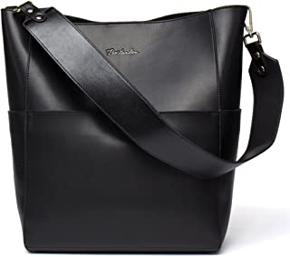 BOSTANTEN Women's Leather Handbags Tote Purses Shoulder Bucket Bags Black