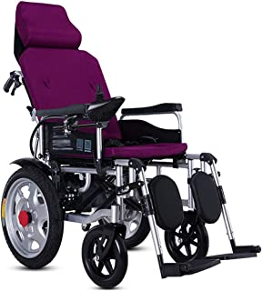 HXCD Silla de Ruedas eléctrica Plegable Ligera con Respaldo reclinable y Viaje portátil portátil de Doble Potencia, Adecuada para Personas con discapacidades y Ancianos Silla de Ruedas eléctrica