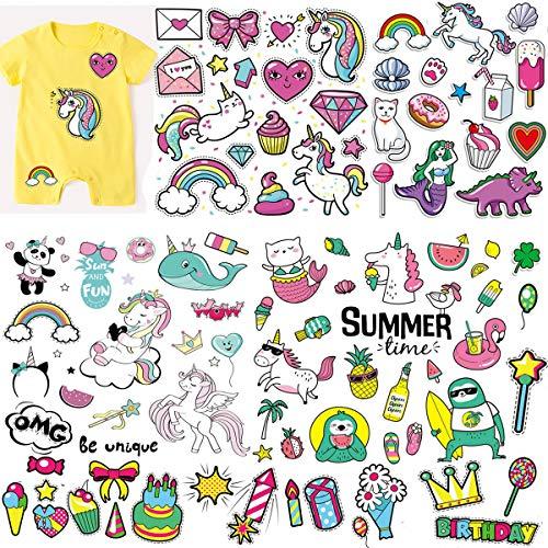(5 Blatt) Kinder Einhorn Eisen auf Patches festgelegt, MWOOT Unicorn Heat Transfer Sticker mit bunten Musterapplikationen für T-Shirt Jeans Taschen Waschbare Geburtstagsdekorationen