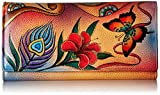 Anna by Anuschka Hand Painted Leather   Checkbook Wallet/Clutch   Peacock Butterfly