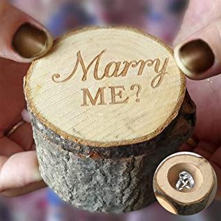 Ring Box Rural Wedding Marry Me Wooden Ring Holder Engagement Valentine Jewelry Box Case for Love - Marry Me