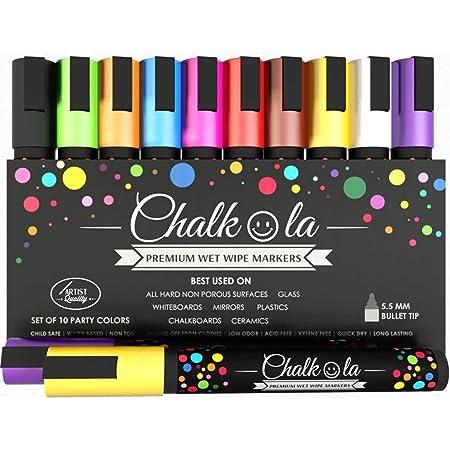 Chalkola Neon Chalk Markers for Chalkboard, Blackboard, Window, Bistro, Car Glass, Board, Mirror (10 Pack, 6mm) - Wet Wipe Erasable Liquid Chalk Pens Paint Ink - 6mm Reversible Tip Chalkboard Markers