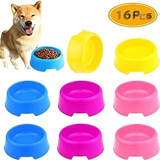 BcPowr 16 PCS Pet Plastic Bowls Dog and Cat Supply Plastic Food Feeding Water Dish Bowl Feeder