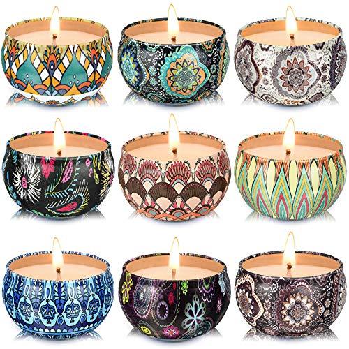 套9个小型香味蜡烛大豆蜡芳香疗法蜡烛2.2盎司便携式锡蜡烛与盖子,放松礼品篮为母亲,女性,朋友和同事