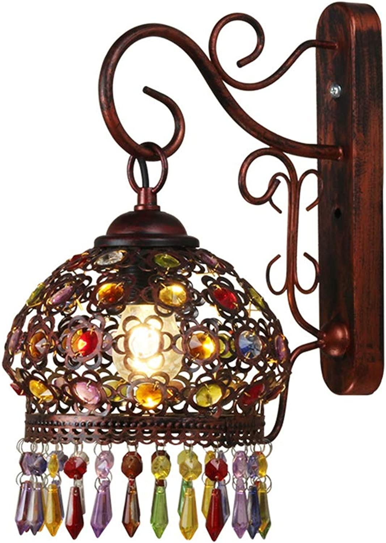 Amerikanischen Stil LED Schmiedeeisen mit gefrbten Kristall Schatten Wandleuchte luxurise Persnlichkeit Beleuchtung Wohnzimmer Lampe Nacht LED Hotel Aisle Decor Lights