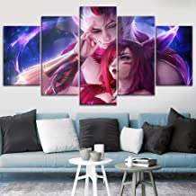 TYG Canvas Print,Wall Art LOL Game League of Legends Rakan and Xayah HD Print on Canvas Giclee Artwork Modern Picture Scene Decoration for Living Room Poster Stretched and Framed Ready to Hang 5 PCS