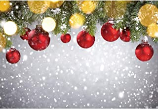 DORCEV 6x4ft Christmas Photography Backdrop Happy New Year Party Merry Christmas Party Background Red Christmas Ball Green Leaf Snow Halo Party Banner Christmas Photo Studio Props