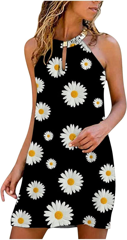 Oiumov Summer Dresses for Women, Womens Sleeveless Daisy Print A-line Mini Dress Casual Beach Sundress Loose Boho Dress