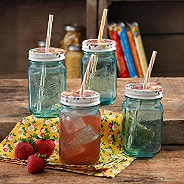 The Pioneer Woman Simple Homemade Goodness 16-Ounce Mason Jar with Timeless Floral Lid and Straw, 4-Pack
