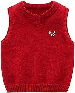 Mornyray Toddler Kid Boys Sweater Vest Sleeveless V Neck Knit School Waistcoat