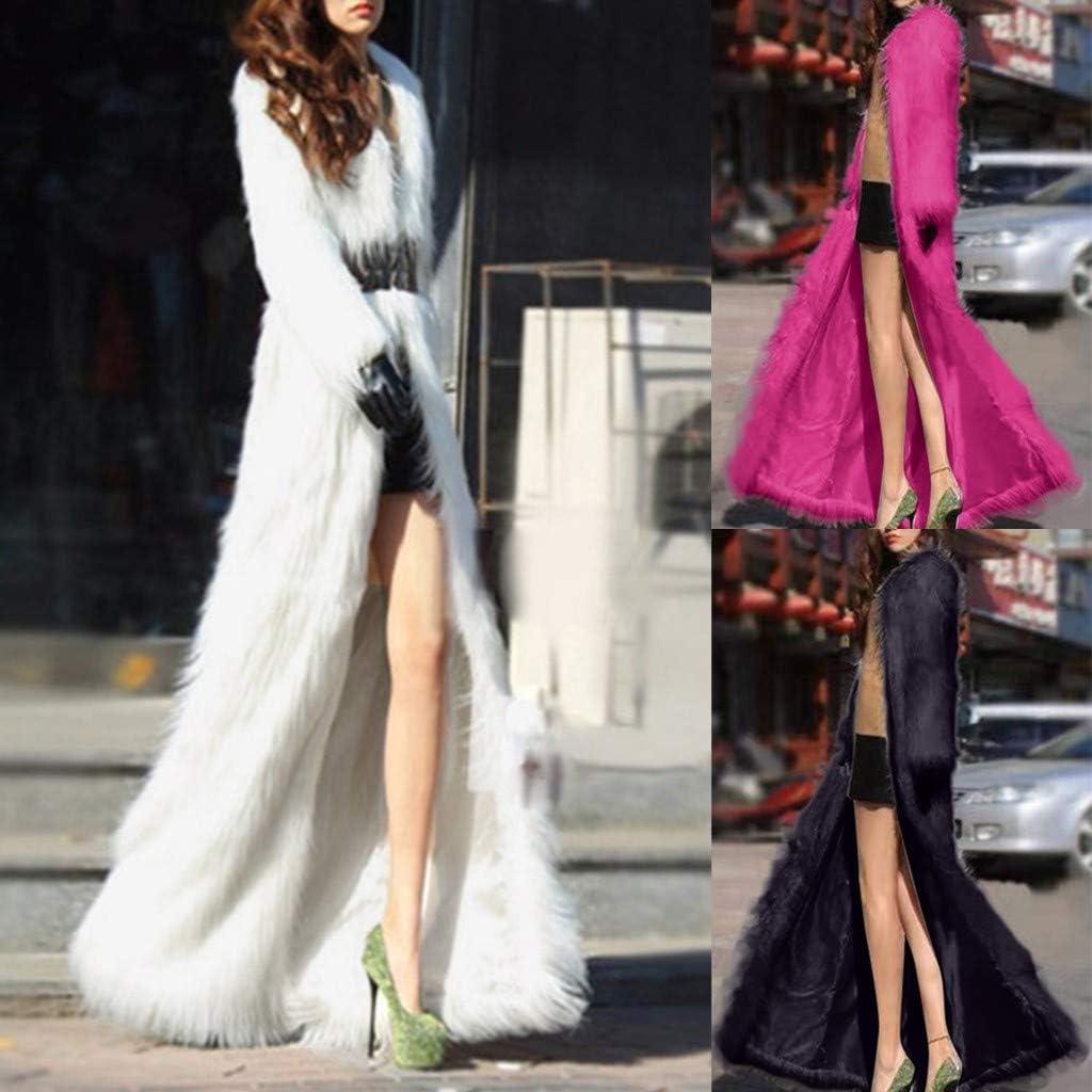 TUDUZ Mantel Damen Winter Lang Elegant Faux Fur Coat Jacke Weiß