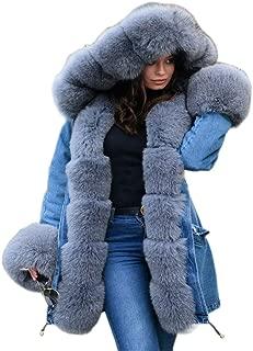 Womens Hooded Faux Fur Lined Warm Coats Parkas Anoraks Outwear Winter Long Jackets