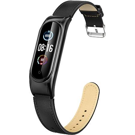 Peakally Bracelet Compatible avec Xiaomi Mi Band 5 / Mi Band 6, Souple Cuir Remplacement Bracelet Accessoires Compatible pour Mi Band 5 / Mi Band 6, Noir