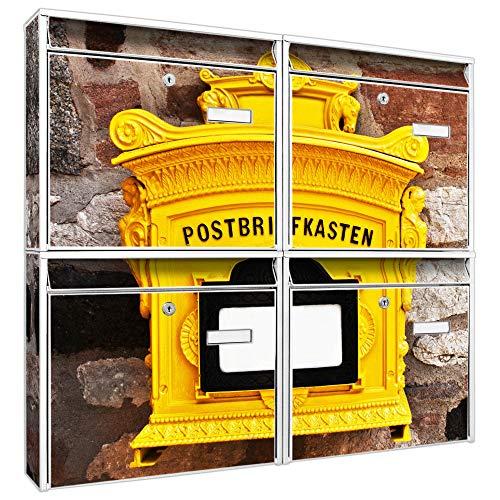 Burg-Wächter Briefkastenanlage 4 Fach | Postkästen 72,4x64,4x10cm groß | Stahl verzinkt weiß DIN A4 Historischer Postkasten | Briefkasten Set 4 Briefkästen Namensschild 2 Schlüssel Montagematerial
