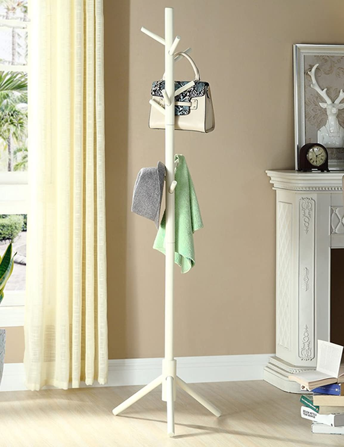Creative Solid Wood Living Room Bedroom Coat Stand Hat Stand Indoor Floor-Standing Clothes Racks(color Optional, 42  168.5cm) (color   White)