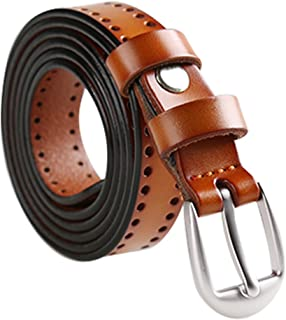 uxcell® Women Hollow Hole Skinny Belt For Jeans Dress With Classic Metal Buckle