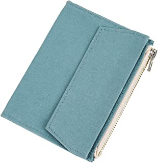 Moterm Canvas Zipper Pocket for Travelers Notebook, 1 Insert Pouch Refill for TN Accessories Card Holder Storage Bag File Folder Stationery (Passport Size,Skyblue)