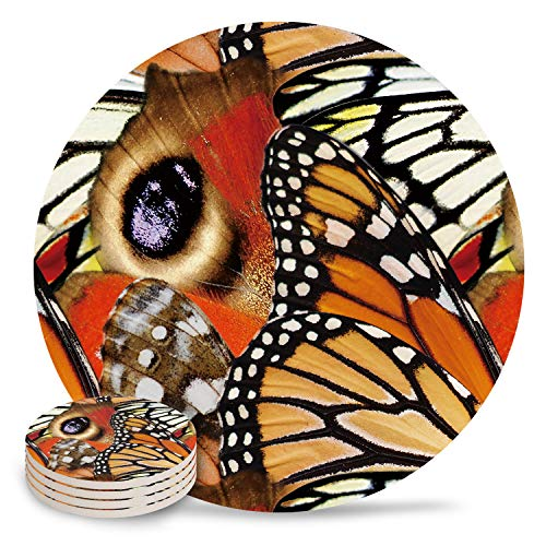 Table Coaster Set with Cork Backing Vibrant Butterflies Nature Colorful Wings Close Up Pattern Round Drinks Absorbent Stone Coaster Set for Kinds of Mugs and Cups,Set of 4