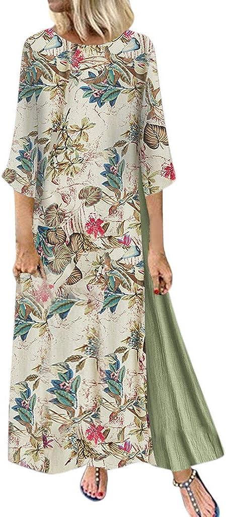 TOPUNDER Baggy Cotton Linen Kaftan Dress Womens Long Sleeve Slit Maxi Dress