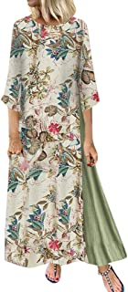 Women Summer Casual Long Dress, Ladies Floral Printed Long Sleeve Maxi Dress