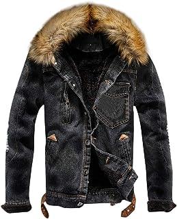 27c5cbfab89525 YUTAO Men s Winter Fleece Lined Fur Collar Button Down Patch Denim Jacket  Coats