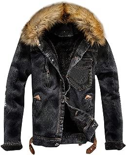 Opinionated Men's Denim Fleece Jacket Casual Faux Fur Collar Sherpa Coat Jeans Trucker Jacket
