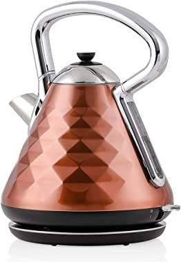 Ovente Electric Kettle 1.7 Liter Stainless Steel Cleo Collection, 1500 Watts with Fast Heating Element and Boil Dry Protection, Fashionable Gift for Friends and Family, Copper (KS755CO)