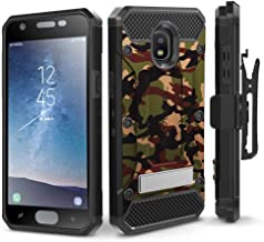 Evocel Explorer Series Pro Compatible with Galaxy J3 2018/ J3 V 3rd Gen/Express Prime 3/ J3 Achieve/ J3 Star/Amp Prime 3 Heavy Duty Case w/Tempered Glass, Holster, Kickstand – Camouflage
