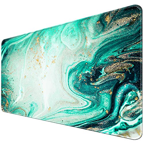 iLeadon Extended Gaming Mouse Pad with Stitched Edges, Large Mousepad 31.5 x 15.7in, Keyboard Mouse Mat with Non-Slip Rubber Base, Water-Resistant Desk Pad for Laptop, Computer & PC, Green Quicksand