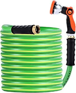 Garden Hose - Durable PVC Non Kinking Heavy Water Hose with Brass Hose Fittings (5/8